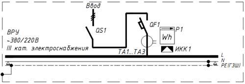 Схема 1 ВРУ (ГРЩ) по III категория элекроснабжения