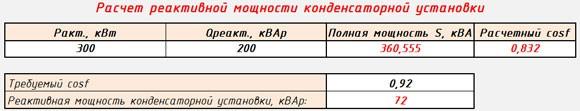 Расчет реактивной мощности конденсаторной установки