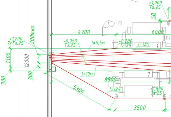 Фрагмент плана трубных прокладок