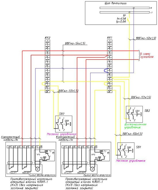 Схема подключения дымовых и противопожарных клапанов Belimo