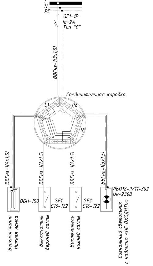 Схема подключения бактерицидного облучателя ОБН-150