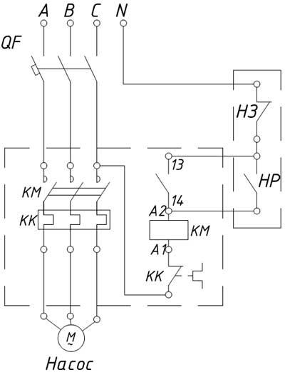Электрическая схема автоматического наполнения емкости водой