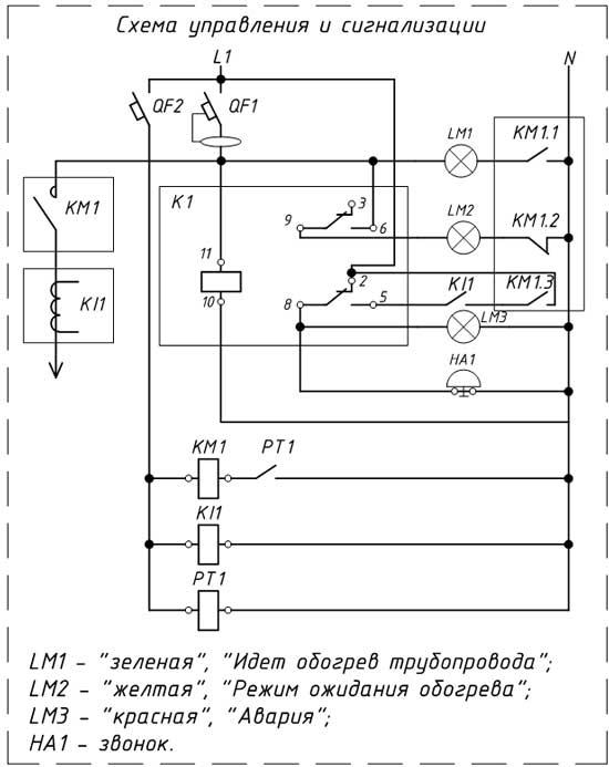 Принципиальная электрическая схема щита управления электрообогревом