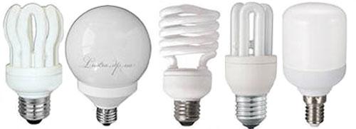 Внешний вид  компактных люминесцентных ламп