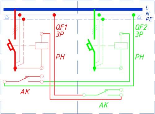 Схема защиты параллельно работающих двух кабелей