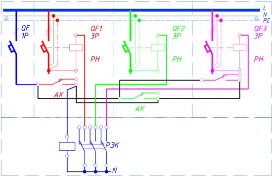 Схема защиты параллельно работающих трех кабелей