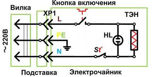 Электрическая схема чайника