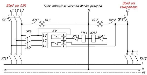 Схема подключения однофазного ДГ в трехфазную сеть