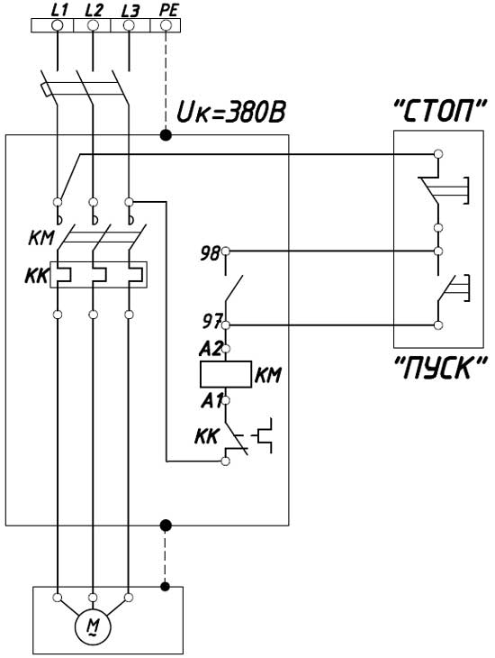 Схема управления нереверсивным пускателем (контактором)