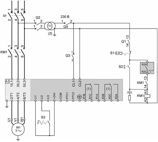 Устройство Altistart 22 в цепи питания двигателя