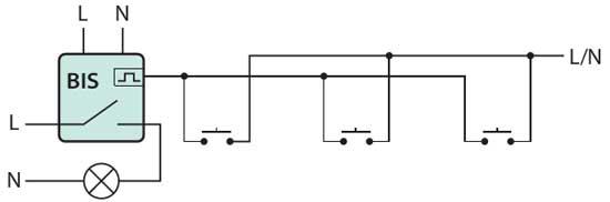 Схема управления освещением при помощи ипульсного реле