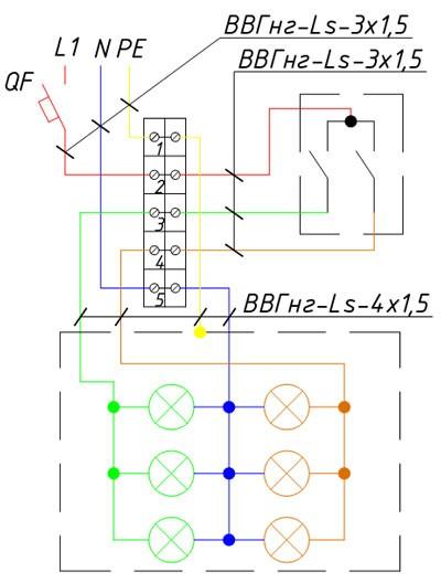 Схема подключения многоламповой люстры