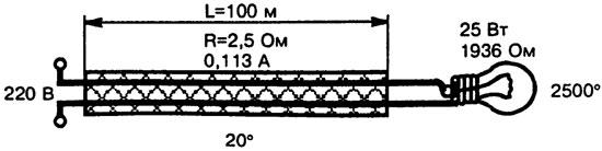 Схема цепи питания лампы