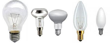 Внешний вид ламп накаливания