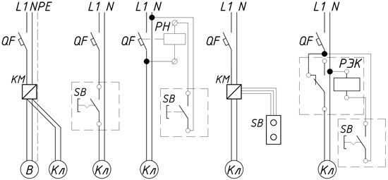 Схемы управления электроприводами с возвратной пружиной