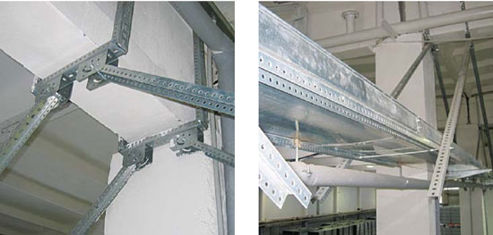 Крепление лотка к потолочным конструкциям