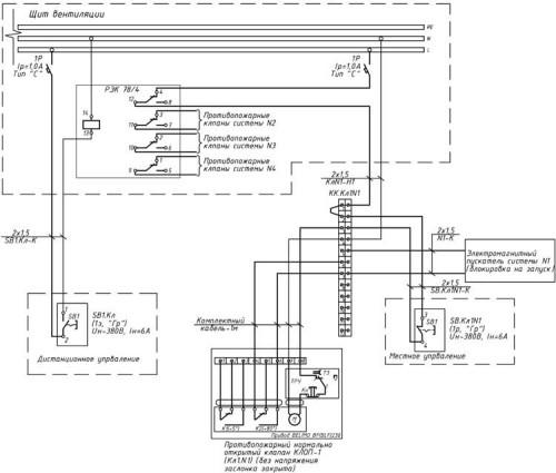 Типовая схема управления противопожарными и дымовыми клапанами