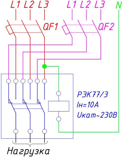 Схема самого простого блока АВР (ЩАП)