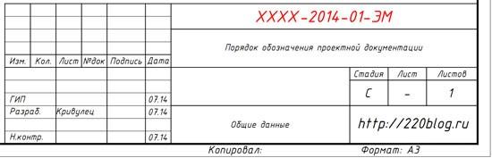 Штамп с обозначением документации