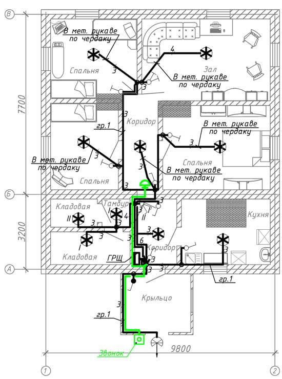 План расположения эл. оборудования и прокладки эл. сетей освещения