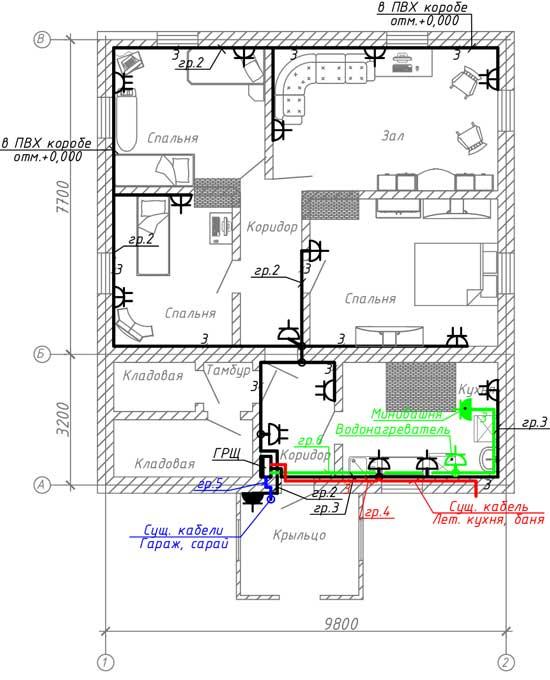 План расположения электрических розеток
