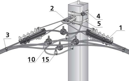 Двойное анкерное крепление СИП при отклонении направления линии ≤100° с установкой ОПН