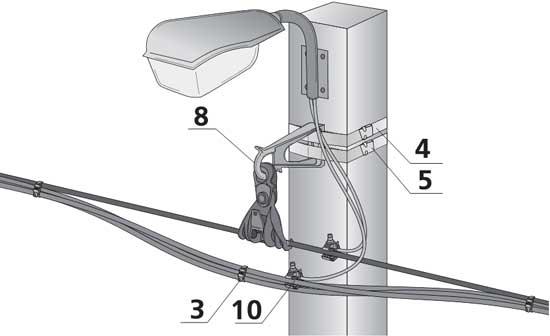 Промежуточная арматура СИП и монтаж уличного освещения