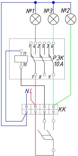 Схема управления тремя группами освещения при помощи двухклавишного выключателя