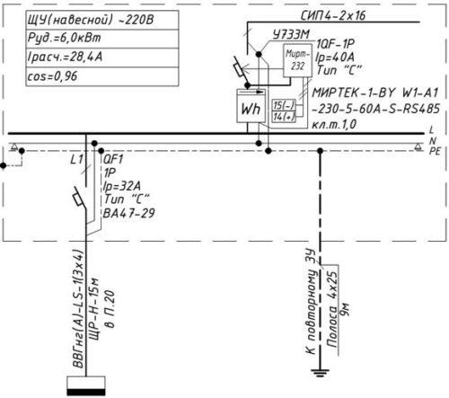 Схема ЩУ в частном доме