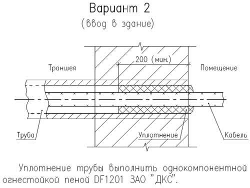 Вариант уплотнения кабеля в трубе при вводе в здание
